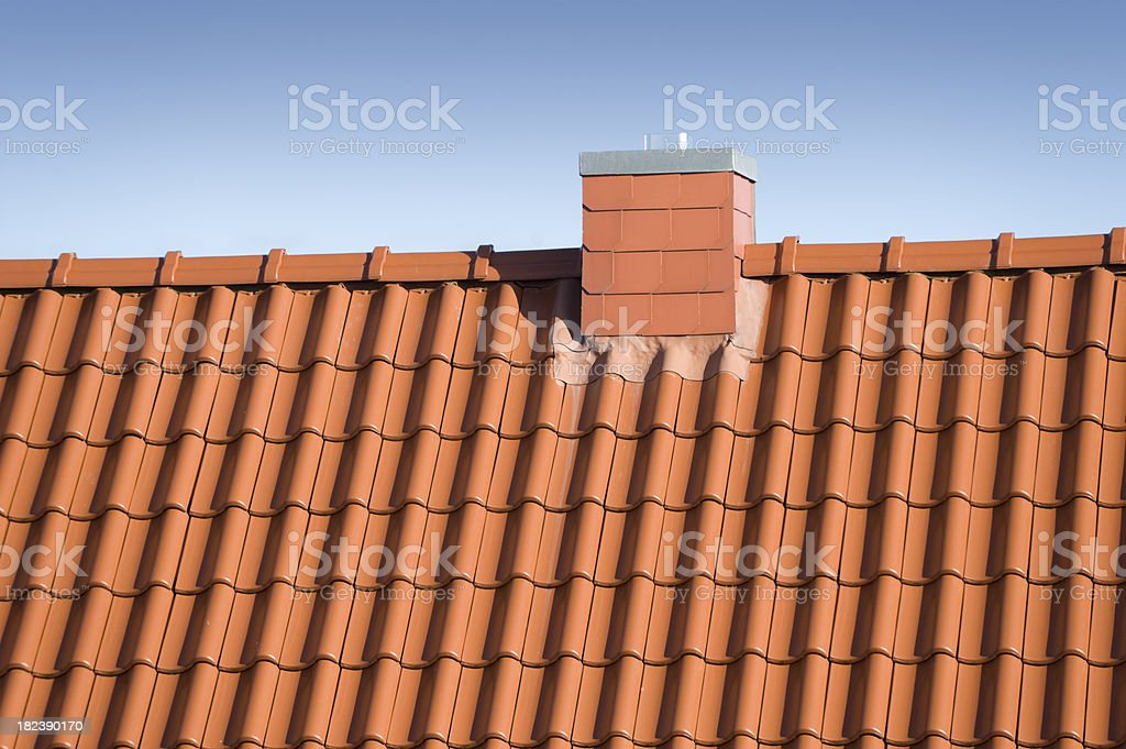 roof with chimney roofing tile royalty-free stock photo