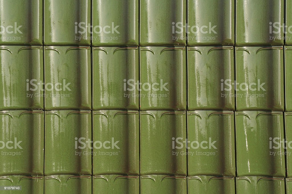 Roof with clay tiles stock photo