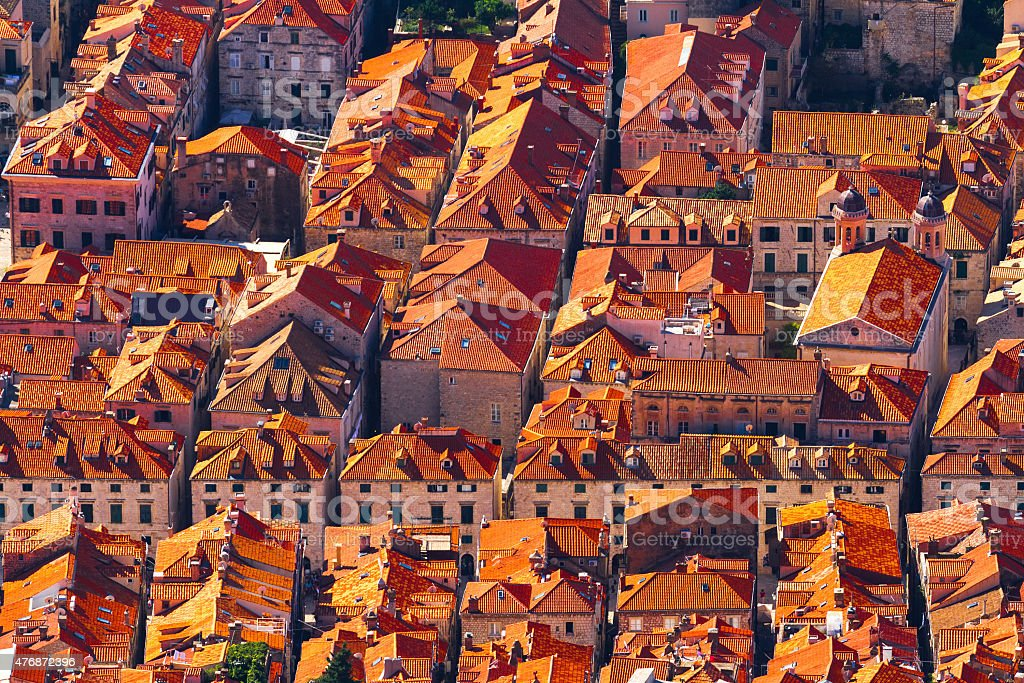 Roof with red tiles at Dubrovnik stock photo
