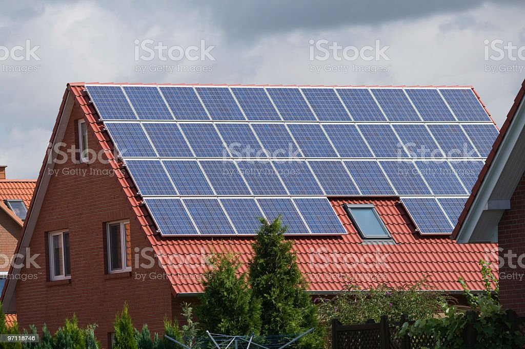Roof with solar panels (XXL) royalty-free stock photo