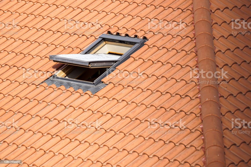 Roof with vasistas or velux windows close up - foto stock