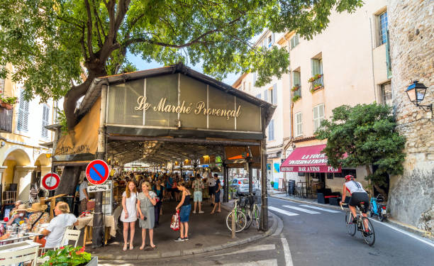 roofed market hall in Antibes stock photo