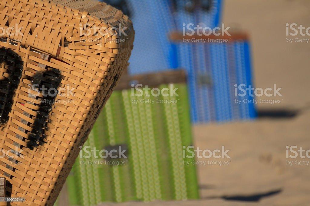 roofed wicker beach chair stock photo