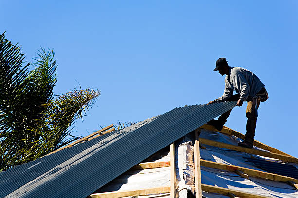 Roofer at work stock photo