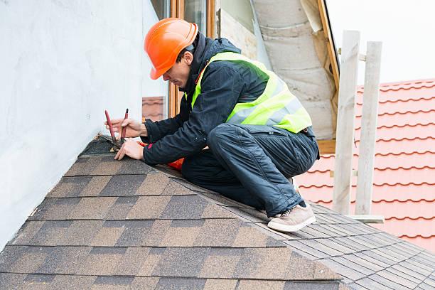 Roofer builder worker stock photo