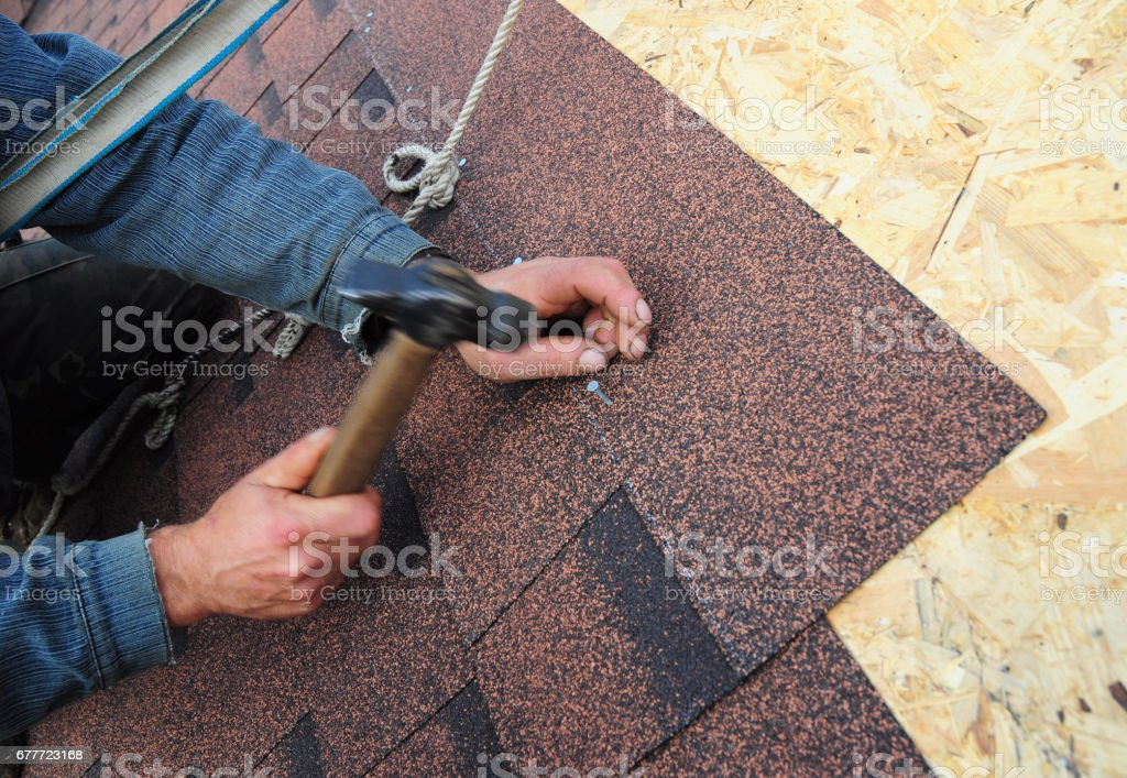 Roofer Install Asphalt Roof Shingles. Close up view on Roofer Installation  Asphalt Roofing Shingles Installation. Roofing Construction, Roofer Roofing Repair. stock photo