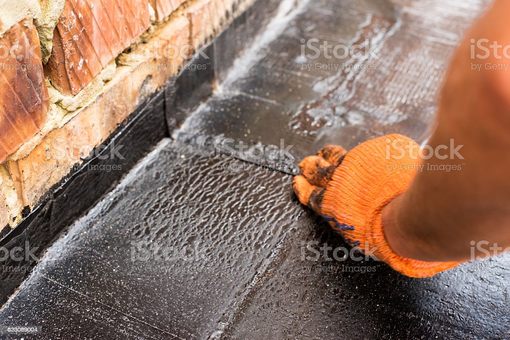 Roofer make repair stock photo