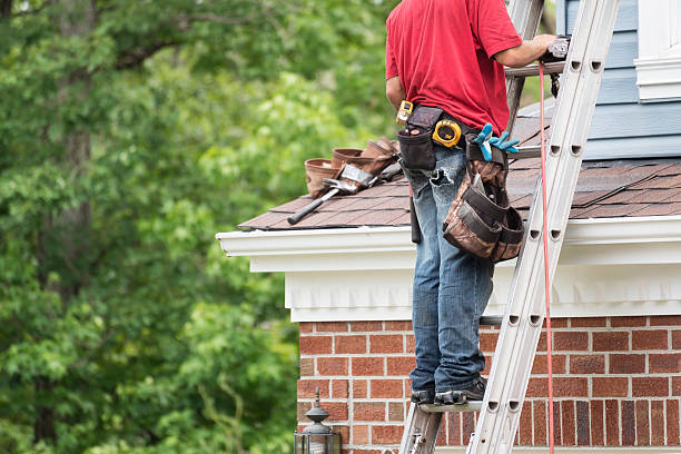Roofer on a Ladder Horizontal with Copy Space stock photo