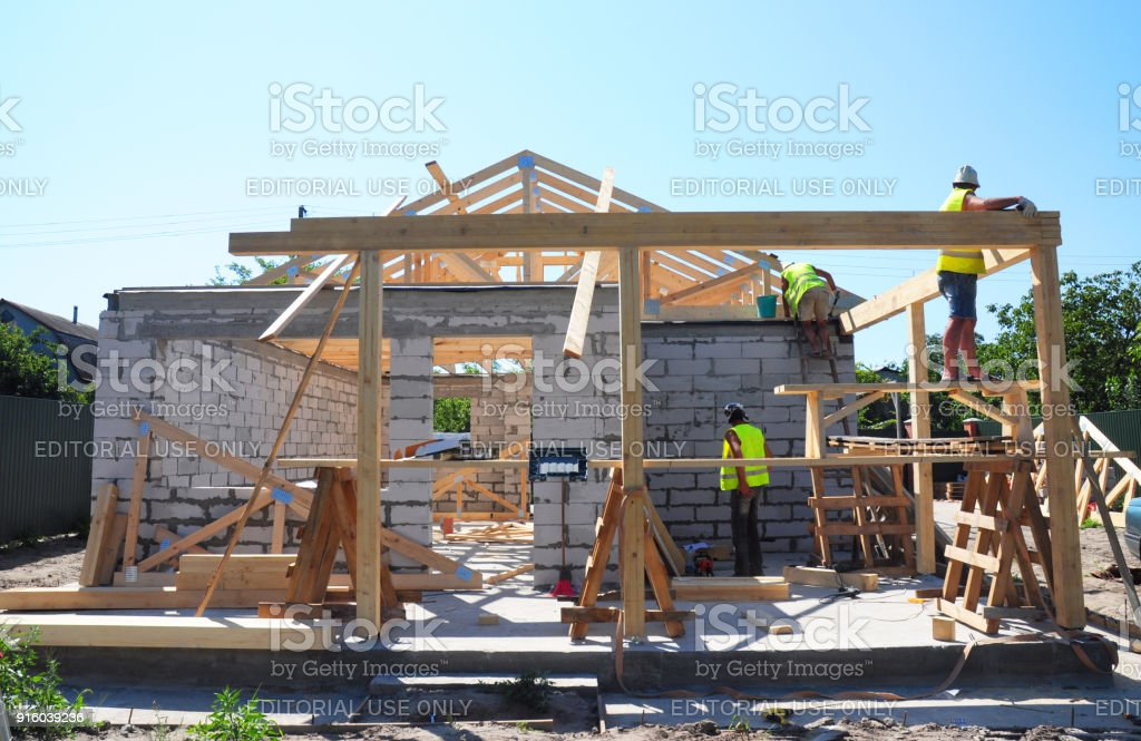 Roofers Building Wood Trusses Roof Frame House Construction