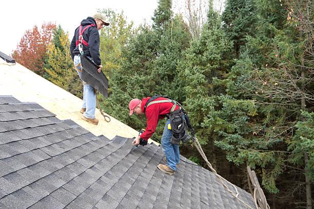 Roofers Installing Asphalt Shingles stock photo