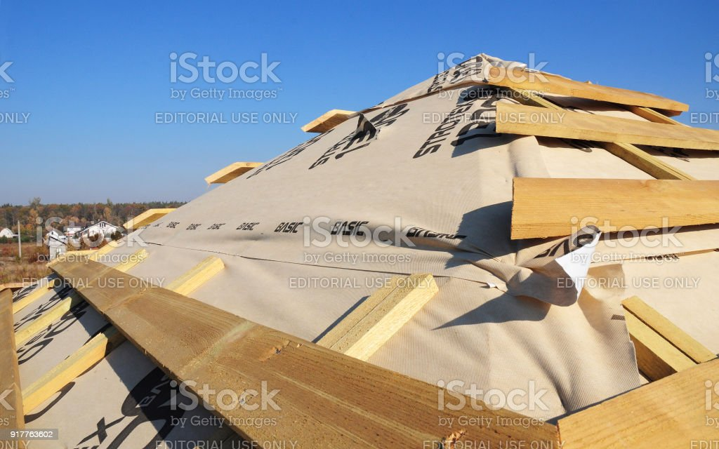 Roofing construction. Roofing & exterior construction stock photo