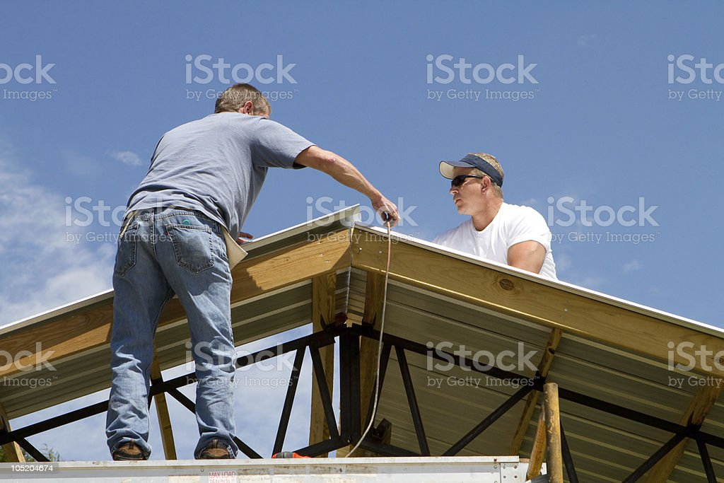 Roofing Construction Workers royalty-free stock photo