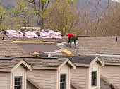 istock Roofing contractor removing the old shingles from a roof ready for reroofing 1219623231