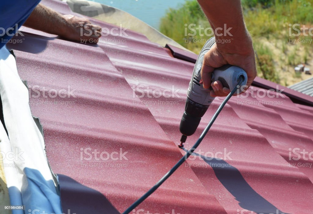Roofing Contractor Roof Repair Roofer Install Metal Roof Tile House Roofing Construction Stock Photo Download Image Now Istock