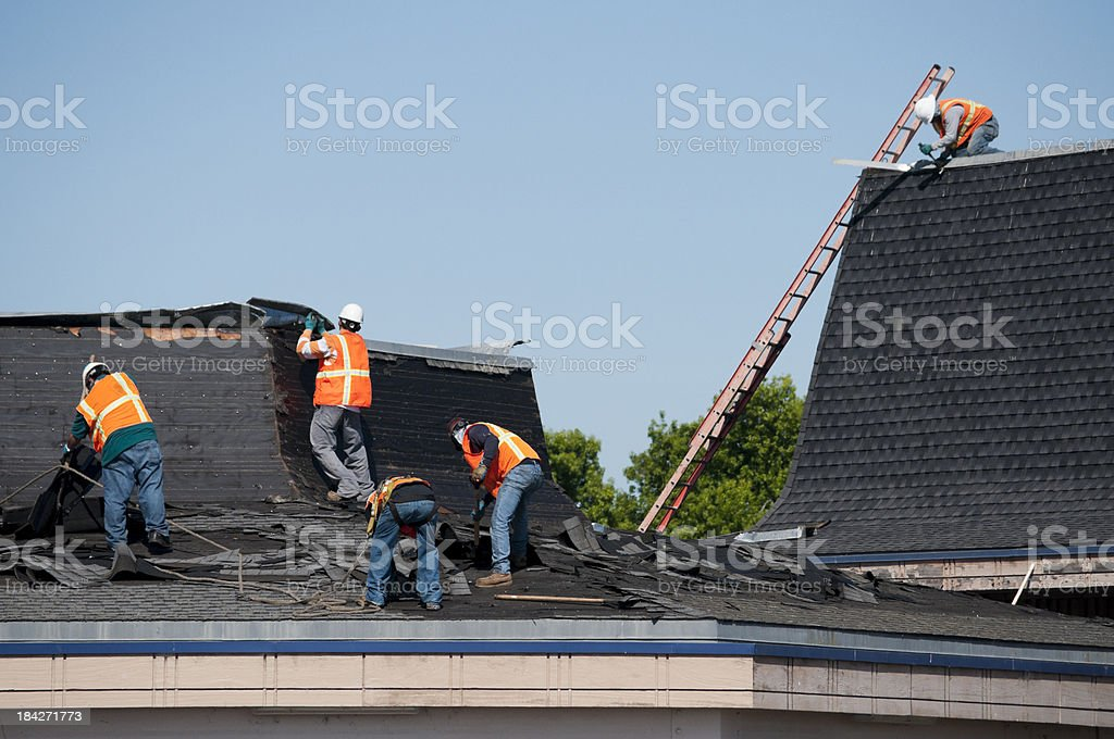 Roofing Crew At Work stock photo