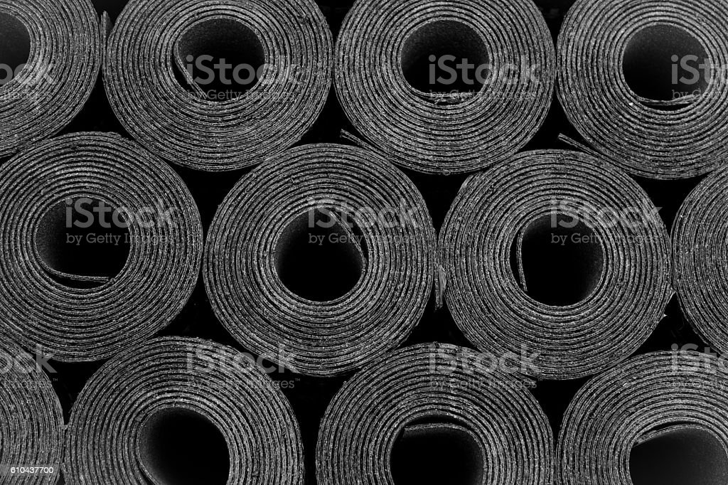 Roofing felt. Rolls of Bitumen stock photo