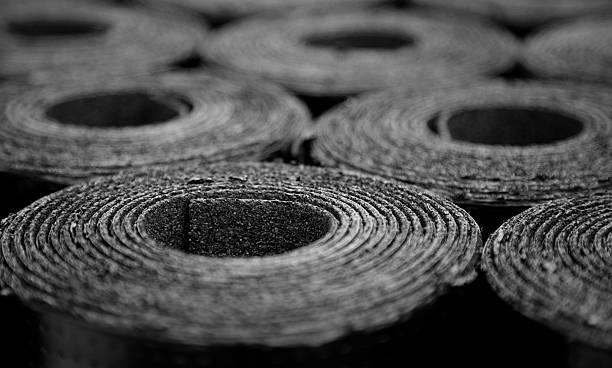 roofing felt. rolls of bitumen - felt textile stock pictures, royalty-free photos & images