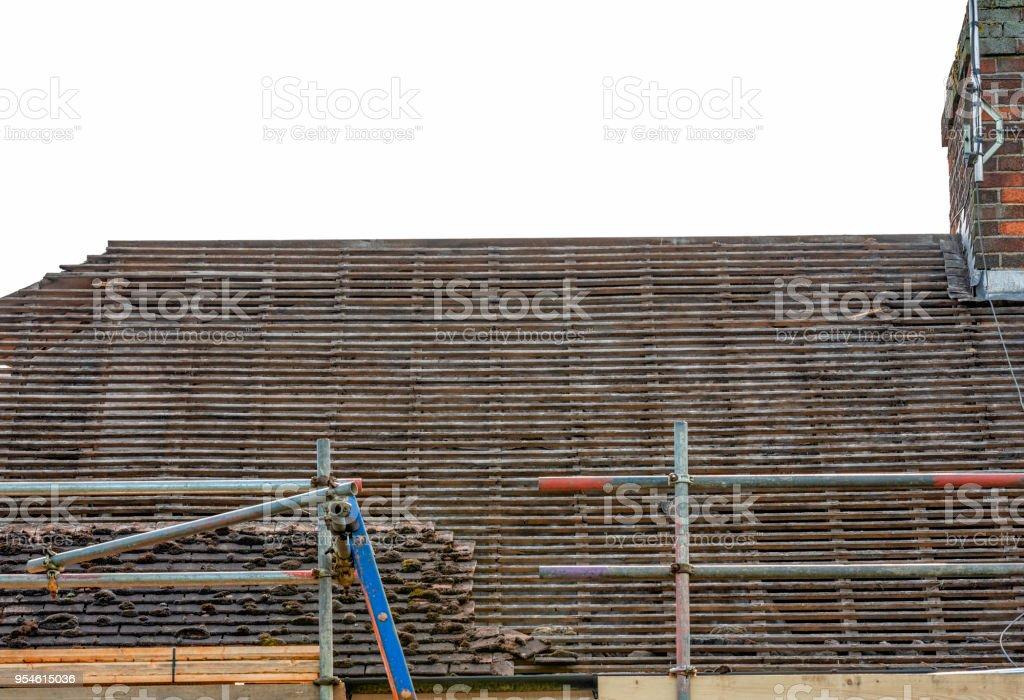 Dachziegeln zeigt alte ziegellatten abgestreift – Foto