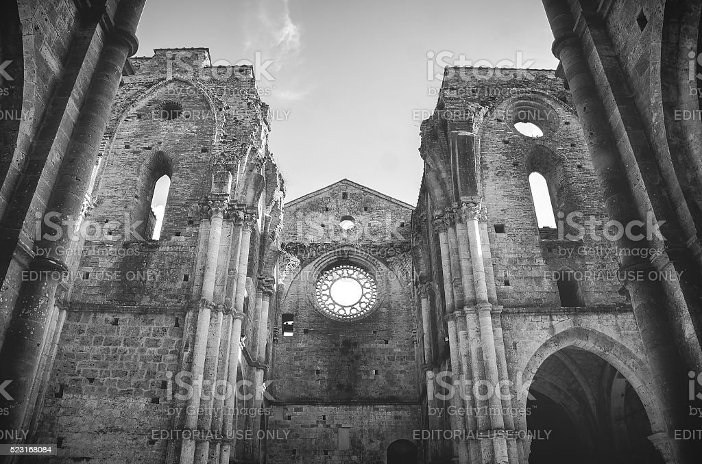 roofless church black and white stock photo