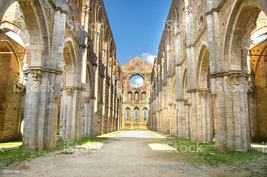 roofless church tuscany region stock photo