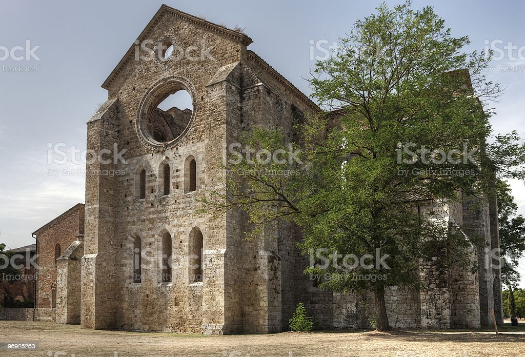 Roofless Old Cathedral royalty-free stock photo