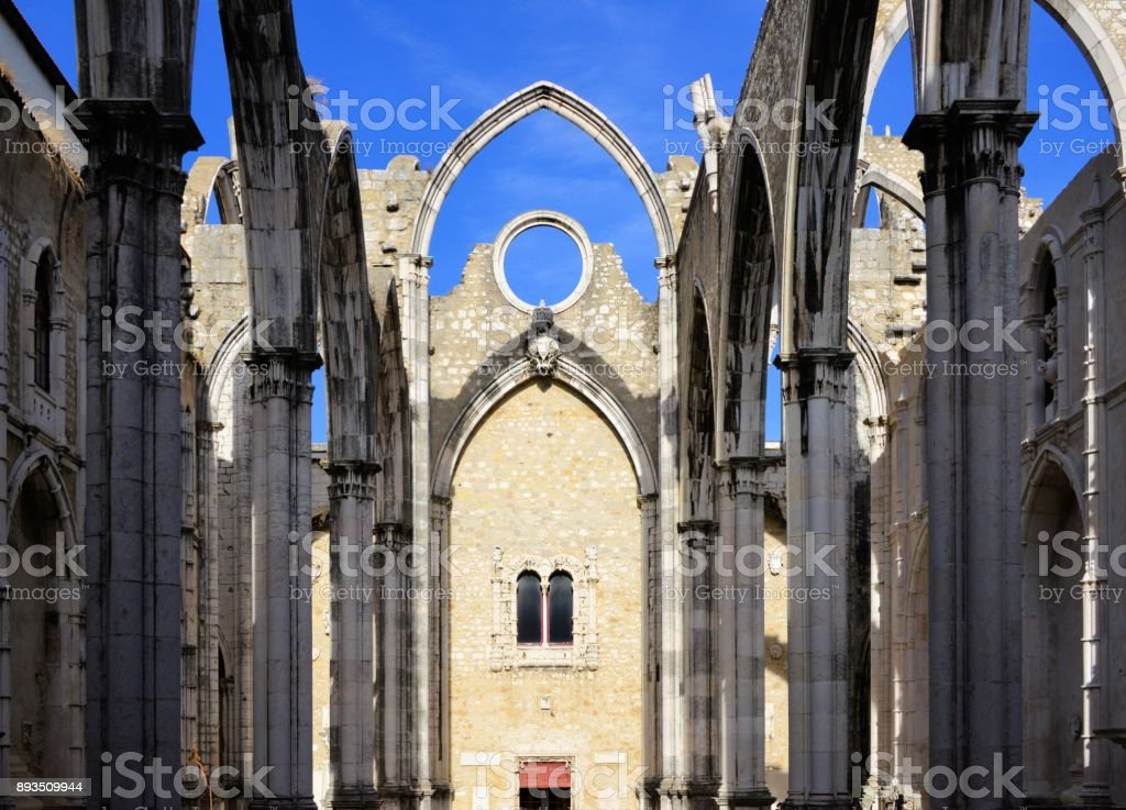 Roofless ruins of the church of Carmo Convent - Convento do Carmo, damaged by the 1755 Lisbon earthquake, Portugal stock photo