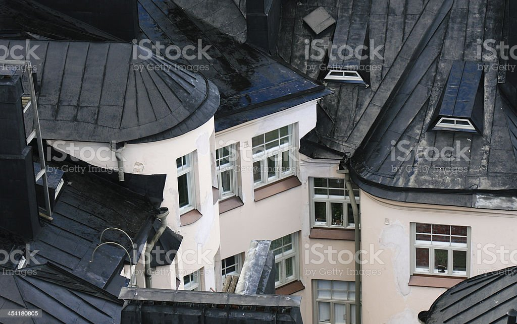 Roofs after a rain stock photo