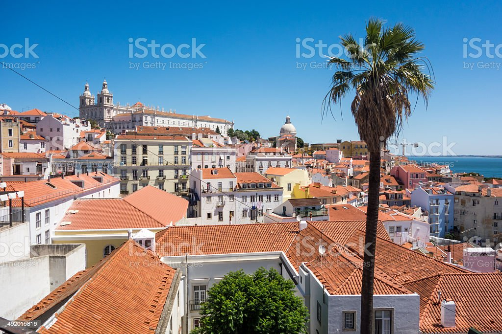 Roofs in lisabon stock photo