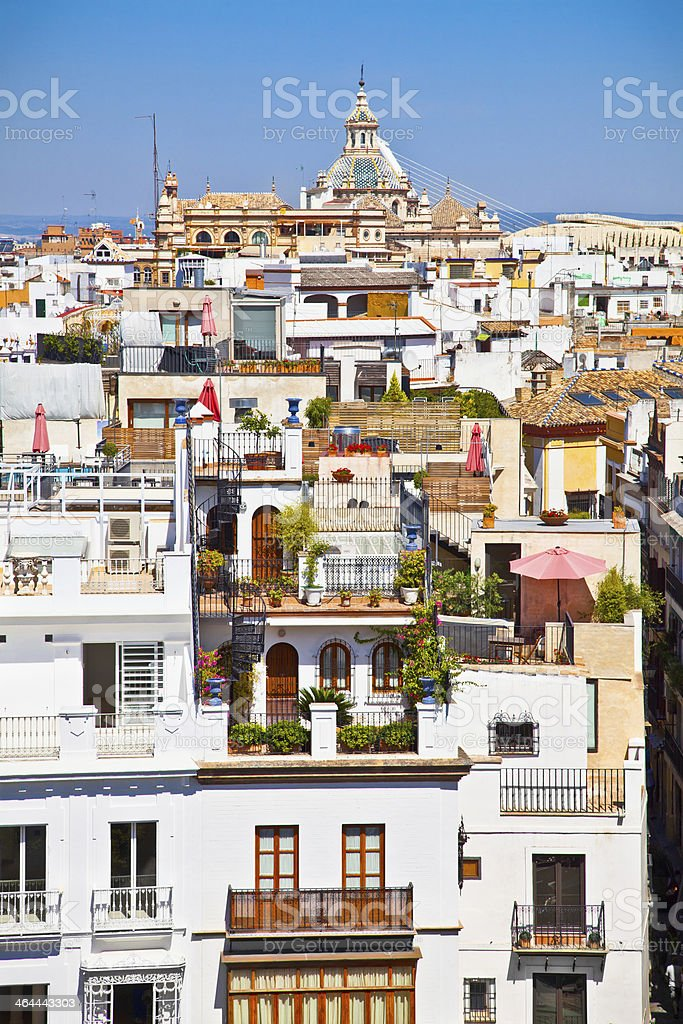 Roofs in Seville town, Andalusia, Spain royalty-free stock photo