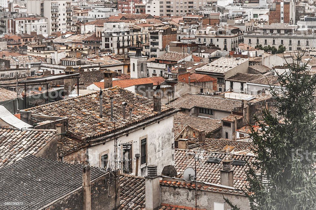 Roofs in the Girona stock photo