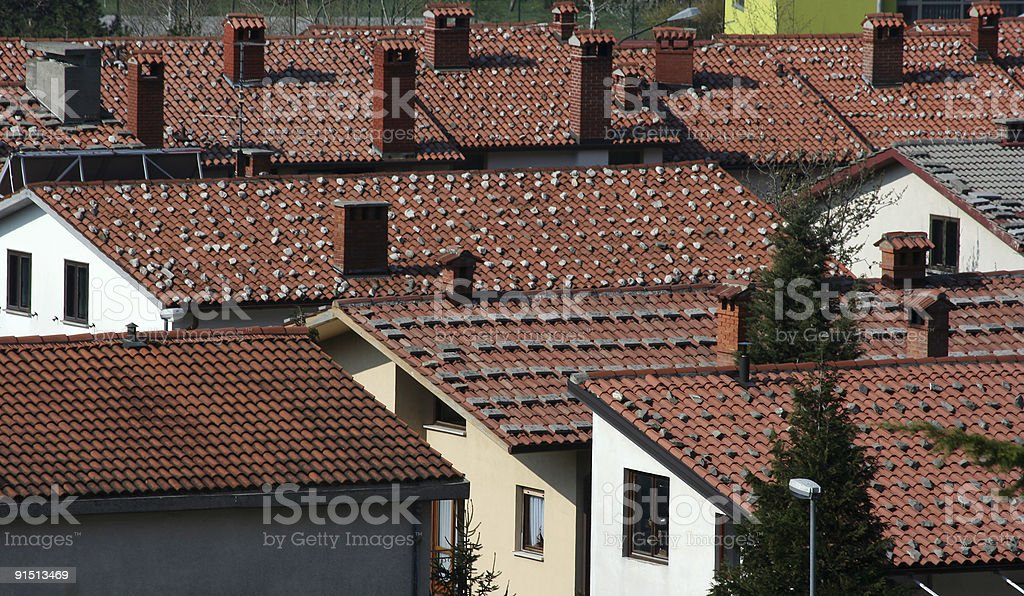 Roofs in windy town royalty-free stock photo