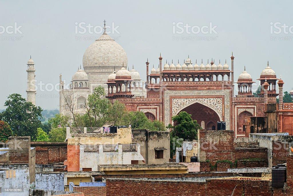 Roofs of Agra with Taj Mahal stock photo
