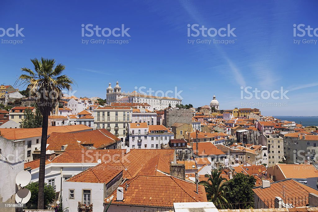 Roofs of Alfama district in summer, Lisbon, Portugal stock photo