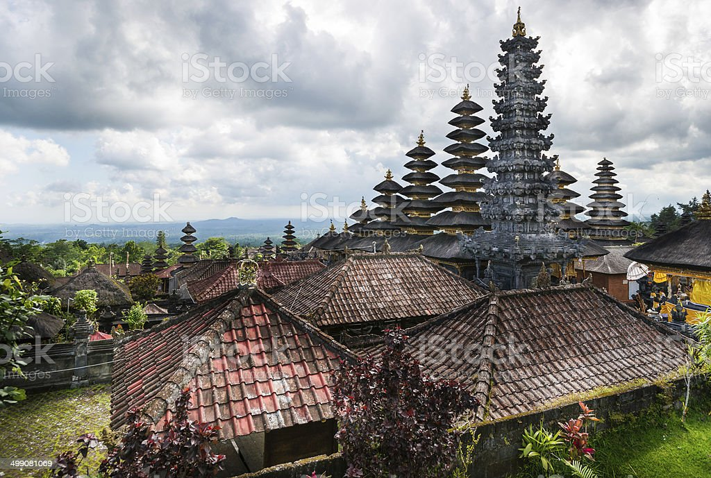 Roofs of Besakih Temple on Bali in Indonesia stock photo