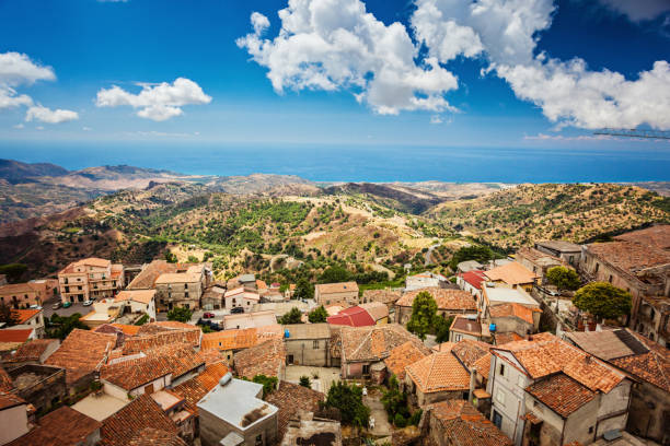 Roofs of Bova Superiore antique town in Calabria