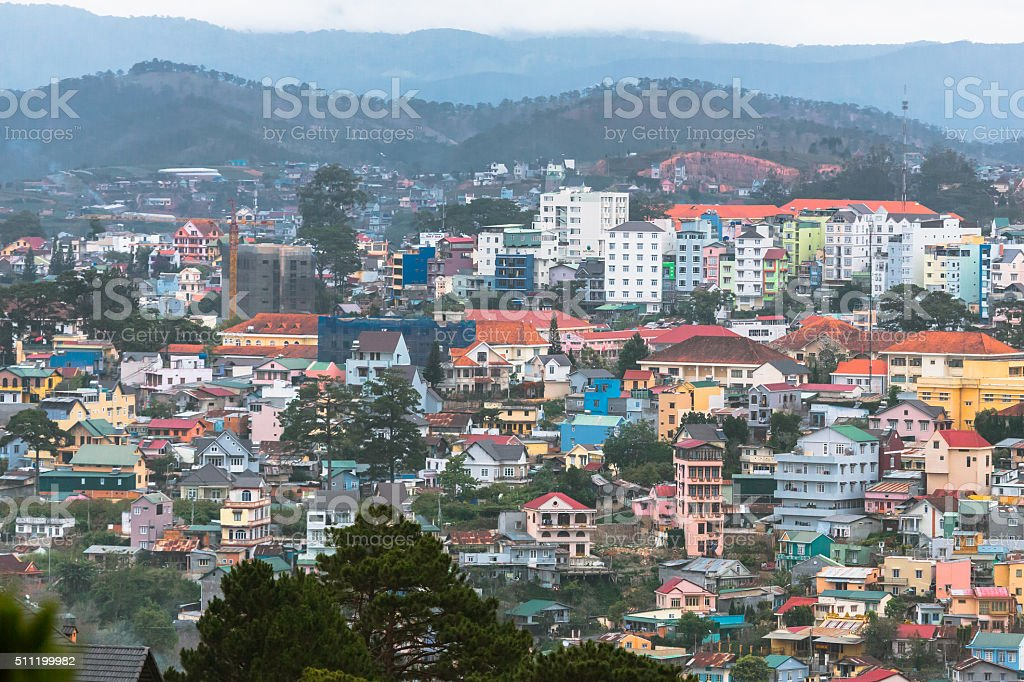 Roofs of Da Lat stock photo
