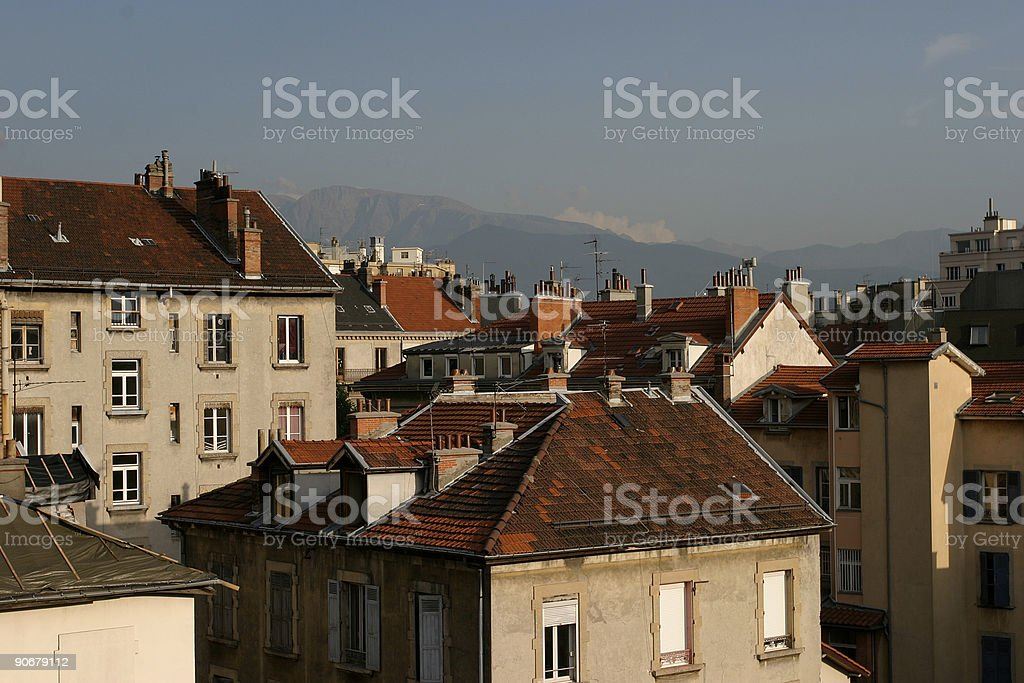 Roofs of Grenoble royalty-free stock photo