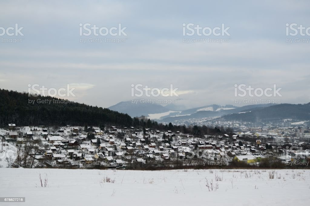 Roofs of houses covered by snow during winter. royalty-free stock photo