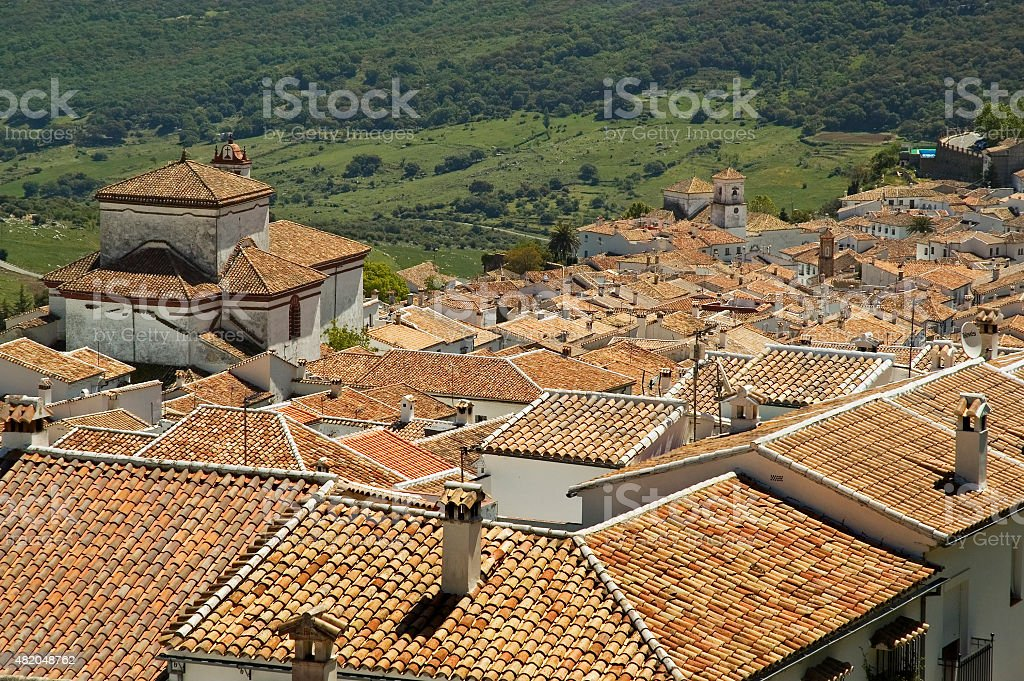 Roofs of houses of white town Grazalema, Andalusia, Spain stock photo