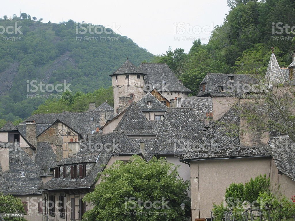 Roofs of middle age village royalty-free stock photo