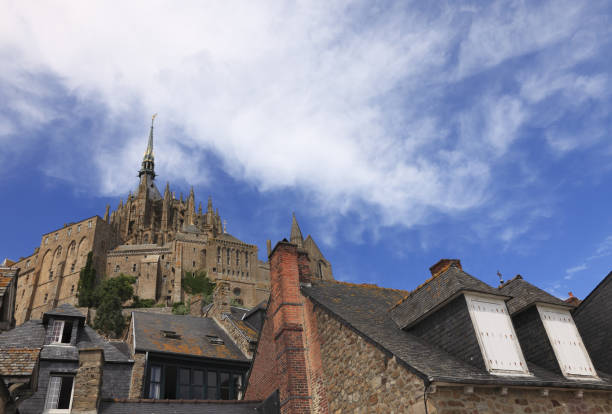 Roofs of Mont Saint Michel Monastery stock photo