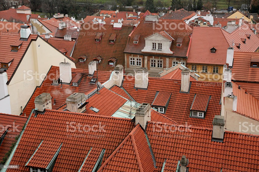 roofs of old houses in Prague royalty-free stock photo