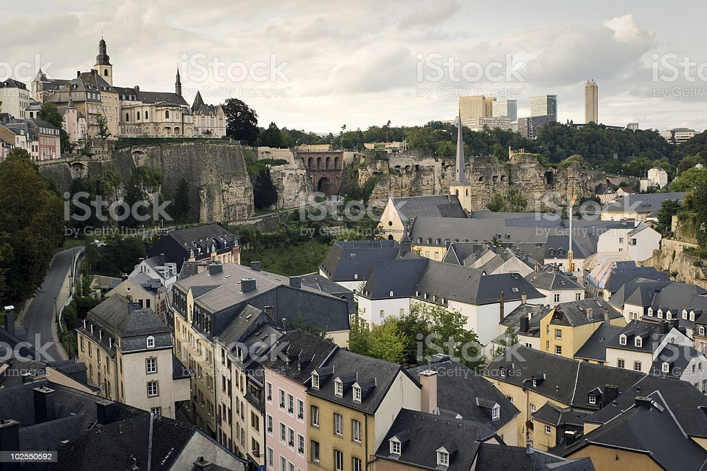 Roofs of old Luxembourg stock photo
