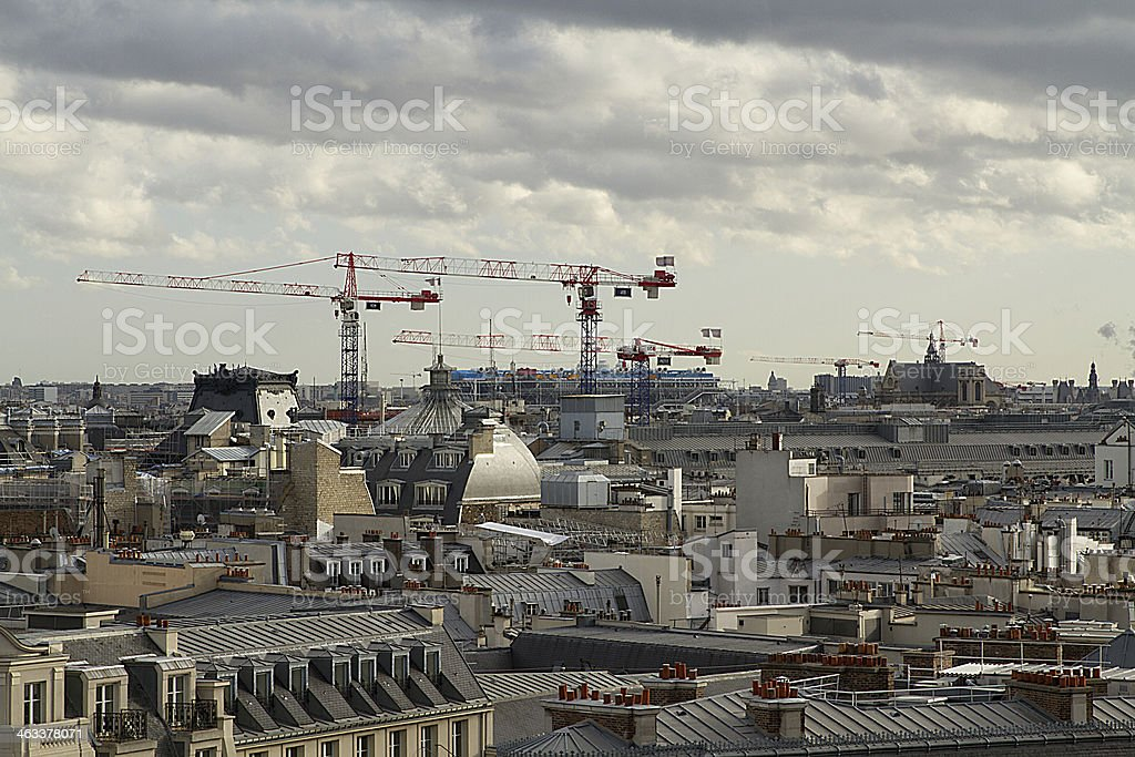 Roofs of Paris, construction, cranes, panorama, France - Royalty-free Architecture Stock Photo