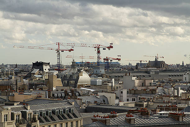 Roofs of Paris, construction, cranes, panorama, France stock photo