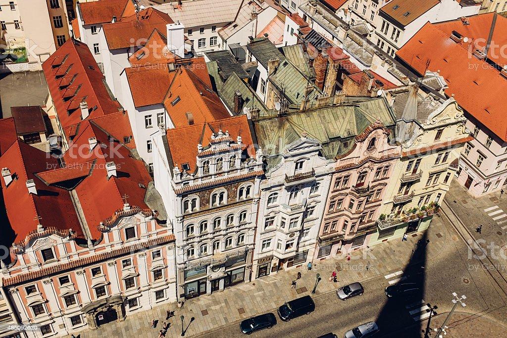 roofs of Plzen, Czech stock photo