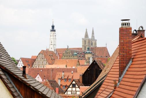 Roofs Of Rothenburg Stockfoto en meer beelden van Architectuur