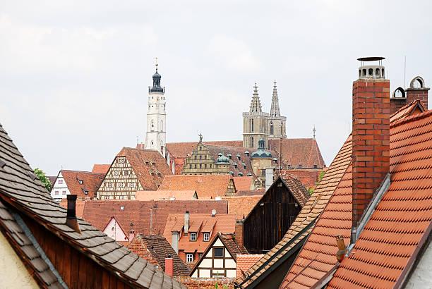 roofs of rothenburg - taubertal stockfoto's en -beelden