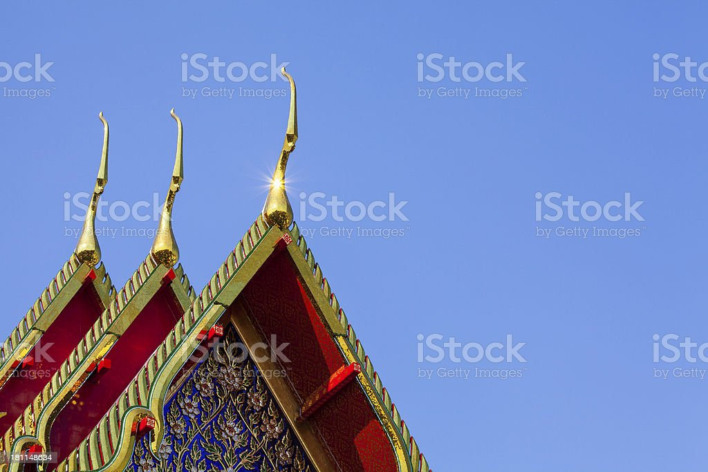 Roofs of temple in Thailand royalty-free stock photo