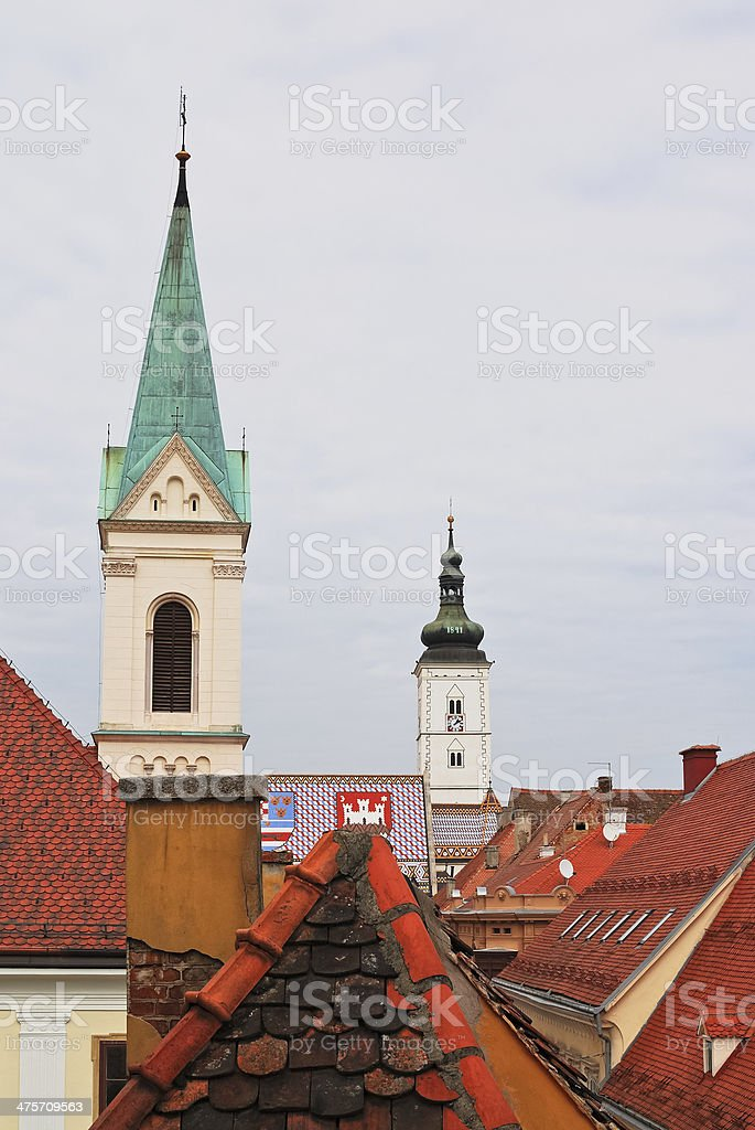 roofs of the old city at zagreb stock photo